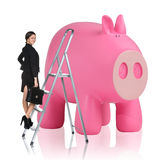 Woman rises up on the stepladder near piggy bank Royalty Free Stock Images