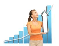 Woman with rising graph and arrow directing up Royalty Free Stock Photos