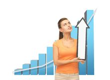 Woman with rising graph and arrow directing up Stock Photos