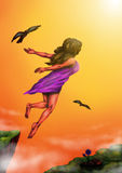 Woman rising to the Light (2014). An abstract illustration of a woman jumping from a cliff and flying towards the sunlight while accompanied by two flying eagles Royalty Free Stock Photos