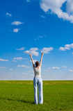 Woman rising up hands Royalty Free Stock Images
