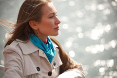 Woman on the river Royalty Free Stock Photo