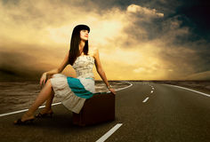 Woman on the road Royalty Free Stock Images