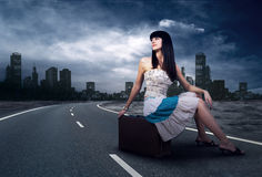Woman on the road Royalty Free Stock Photos
