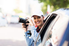Woman road trip Stock Images