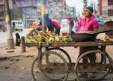 A woman roasts corn over a charcoal fire in Nepal royalty free stock photo