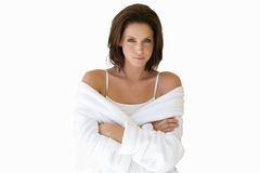 Woman in robe with arms folded, cut out Stock Photography