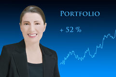 Woman robo-advisor successful portfolio management royalty free stock photography