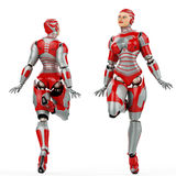 WOMAN ROBOT front and back view Stock Photography