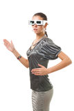 Woman robot in silver glasses Stock Photography