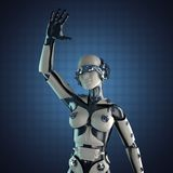 Woman robot of steel and white plastic Stock Photography