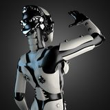 Woman robot of steel and white plastic Royalty Free Stock Images