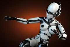 Woman robot of steel and white plastic Royalty Free Stock Photography