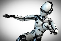 Woman robot of steel and white plastic Stock Photo