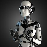 Woman robot of steel and white plastic Stock Photos