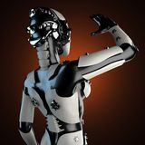 Woman robot of steel and white plastic Royalty Free Stock Photos