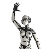Woman robot of steel and white plastic Stock Image