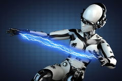 Woman robot of steel and white plastic with lightning Stock Photos
