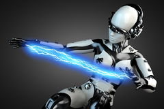 Woman robot of steel and white plastic with lightning Royalty Free Stock Image