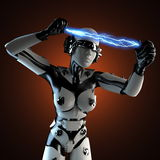 Woman robot of steel and white plastic with lightning Stock Photo