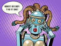 Woman robot surprised. Pop art retro style. Digital language. Artificial intelligence. Humanoid Android Stock Images