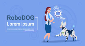 Woman With Robotic Dog Updating Interface Animal Modern Robot Pet Artificial Intelligence Technology Stock Photography
