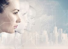 Woman and robots - artificial intelligence. Concept stock images