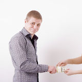 Woman robs man money Royalty Free Stock Image