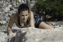 Woman rock climber Royalty Free Stock Photos