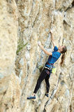 Woman rock climber on the cliff Stock Images