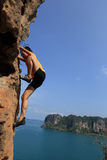 Woman rock climber climbing at seaside mountain rock Stock Photos