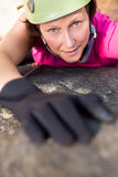Woman rock climbing. On the nature royalty free stock photography