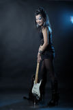 Woman rock with guitar Royalty Free Stock Image
