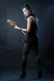 Woman rock with guitar Stock Photography