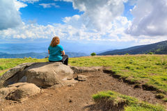 Woman on Rock Round Bald Roan Mountain North Carolina Stock Image