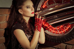 Woman in rock style clothing. Closeup shot Royalty Free Stock Photography