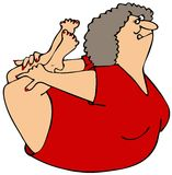 Woman rocking on her belly. This illustration depicts a chubby woman doing Yoga exercises rocking on her belly Royalty Free Stock Image