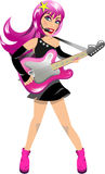 Woman Rockstar Playing Electric Guitar Royalty Free Stock Photos