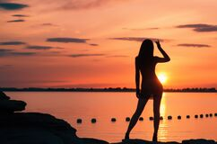 Woman on rocky beach at sunset Royalty Free Stock Image