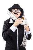 Woman with roll of money Stock Photography
