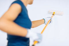 Woman with roller and paint colouring the wall Stock Image