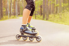 Woman roller skater on roller skates Stock Photo