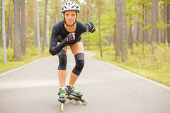 Woman roller skater training Royalty Free Stock Photo