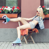 Woman roller skater Royalty Free Stock Photo