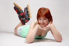 Woman on roller-skates Stock Photography