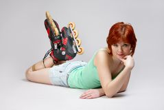Woman on roller-skates Stock Image