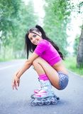 Woman on roller skates Royalty Free Stock Photography
