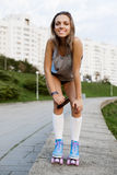 Woman in roller skates Royalty Free Stock Images