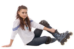 Woman in roller skates Stock Photo