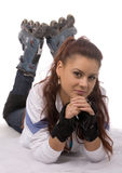 Woman in roller skates royalty free stock photo